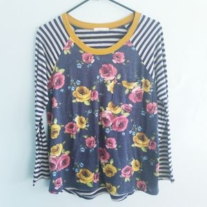 Le Lis floral and navy stripe long sleeve top S